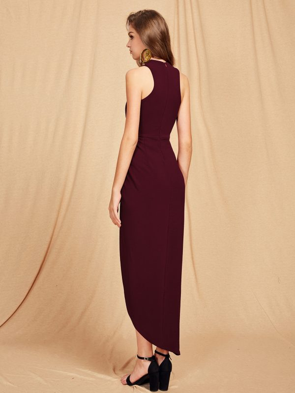 Cross Halterneck Asymmetrical Maxi Dress