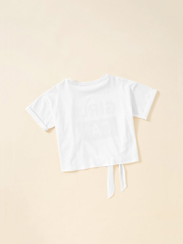 Girls Cuffed Sleeve Knot Front Graphic Tee