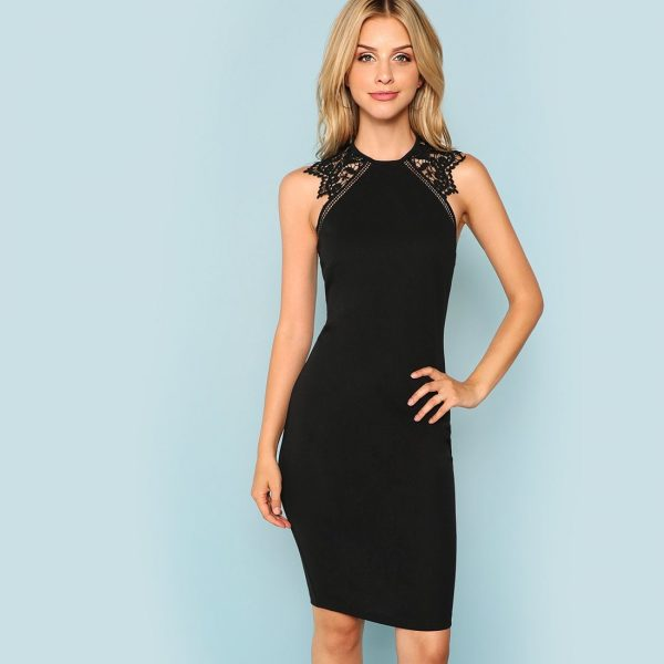 Guipure Lace Panel Bodycon Dress