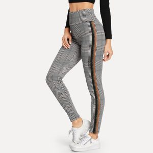 Wide Waist Contrast Tape Plaid Leggings
