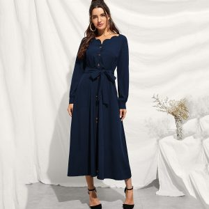 Knot-front Single Breasted Longline Dress