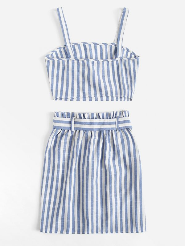 Striped Crop Cami Top & Belted Skirt Set