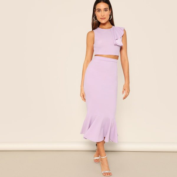 Zip Back Ruffle Trim Crop Top & Mermaid Skirt Set