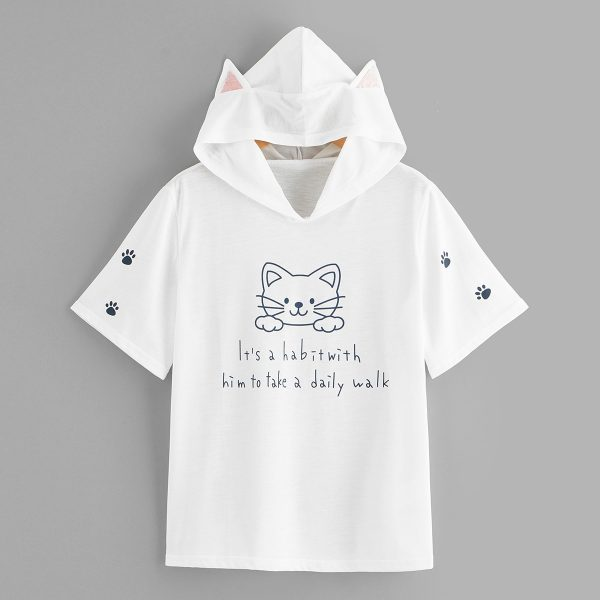 Letter Print Cat Ears Hooded Tee