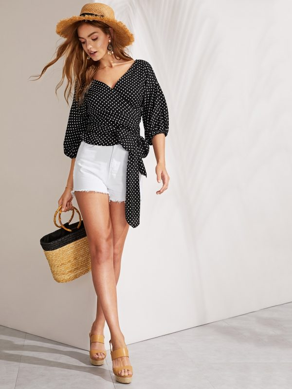 Tie Front Wrap Polka Dot Top