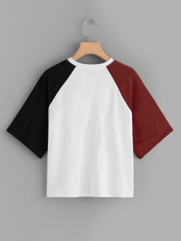 Cut-out Neck Contrast Raglan Sleeve Tee