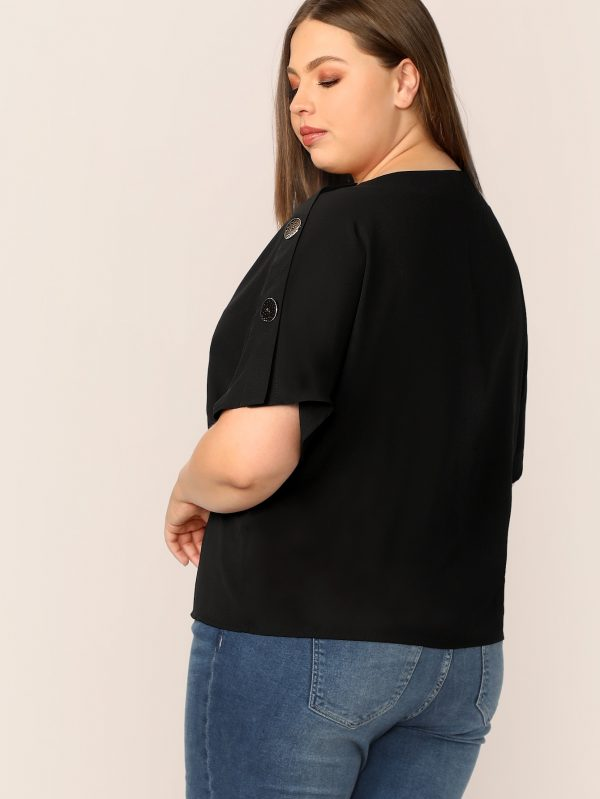 Plus Buttoned Sleeve Solid Top