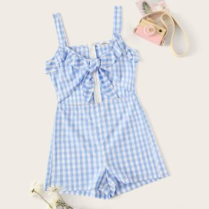 Girls Zip Back Gingham Peekaboo Romper