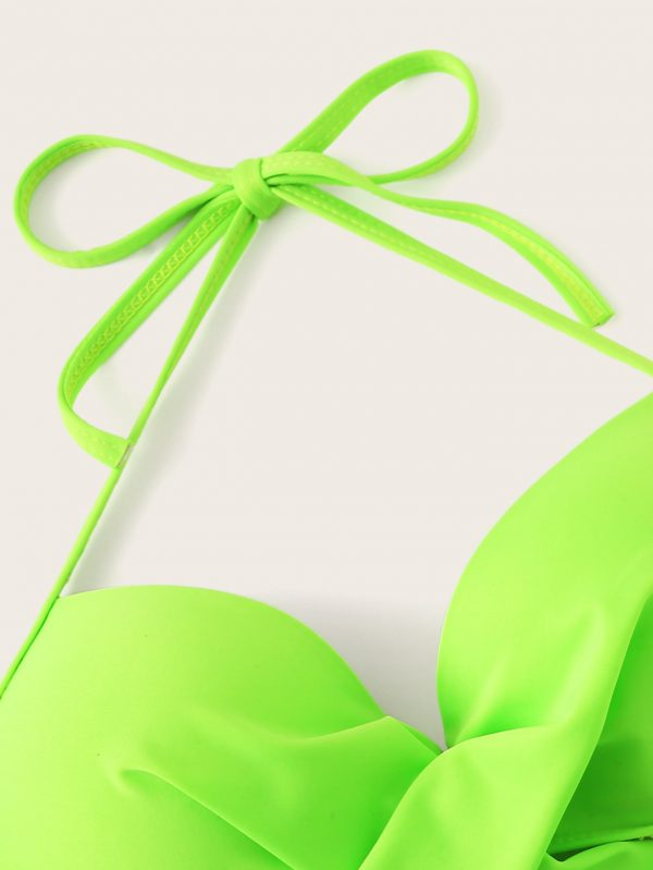 Neon Lime Wrap Top With Random Tropical Bikini