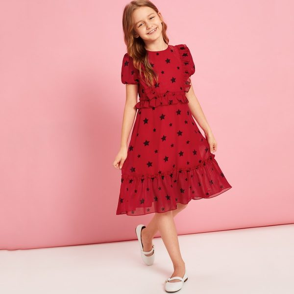 Girls Puff Sleeve Star Print Frilled Dress