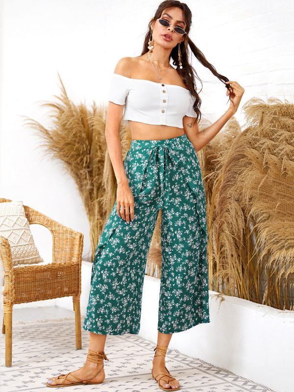 Ditsy Floral Knot Front Overlap Culotte Pants