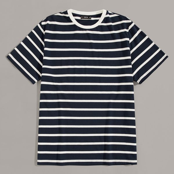 Men Contrast Neck Striped Tee