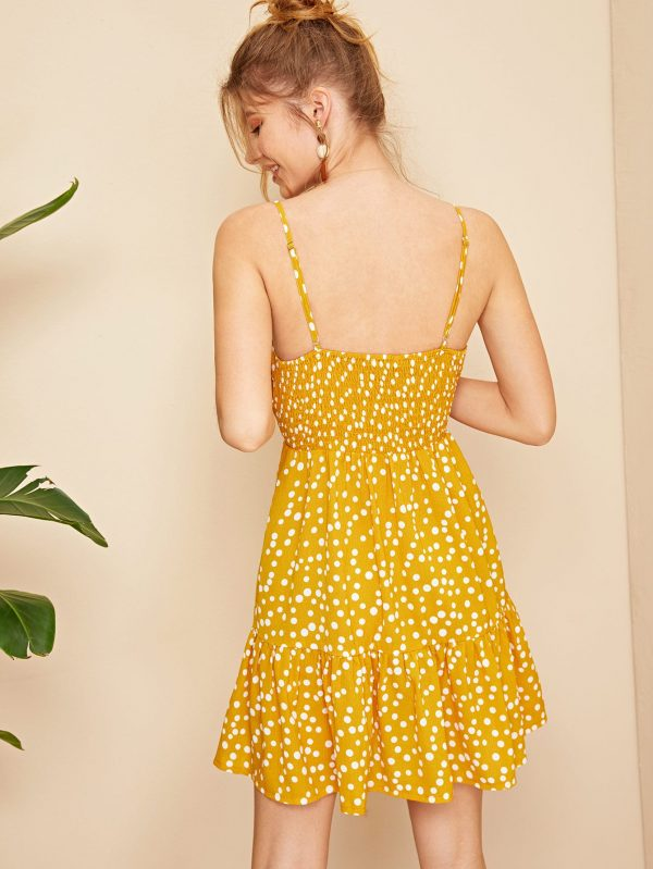 Shirred Panel Back Covered Button Detail Cami Dress