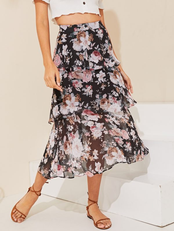Layered Ruffle Floral Skirt