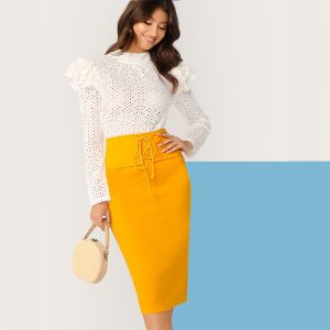 Grommet Lace Up Waist Split Hem Pencil Skirt