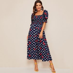 Shirred Bodice Polka Dot and Cherry Print Dress