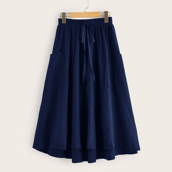 Tie Waist Pocket Side Dip Hem Skirt