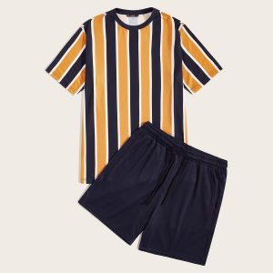 Men Colorful Striped Top & Shorts Set
