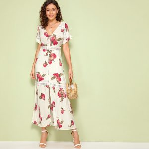 Leaf Print Lace Insert Button Front Maxi Dress