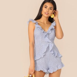 Ruffle Trim Knot Backless Striped Romper