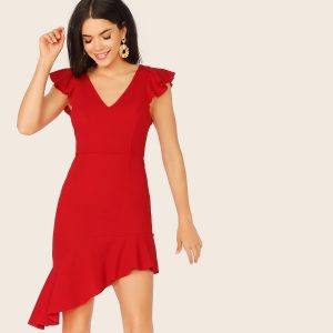 V-neck Ruffle Armhole Asymmetrical Hem Dress