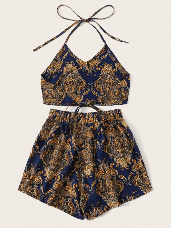 Tribal Paisley Print Tie Back Halter Top & Shorts