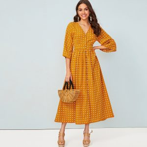 Polka Dot Print Button Front Shirt Dress