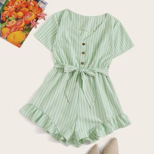 Striped Ruffle Hem Belted Romper