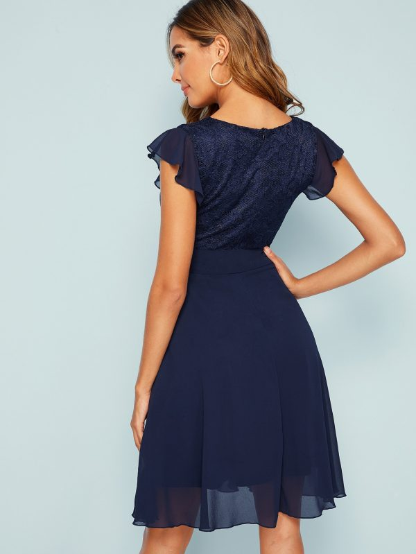 Lace Bodice Fit and Flare Self Belted Dress