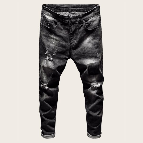 Men Button Waist Ripped Washed Jeans