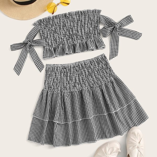 Gingham Shirred Ruffle Hem Knot Top With Skirt