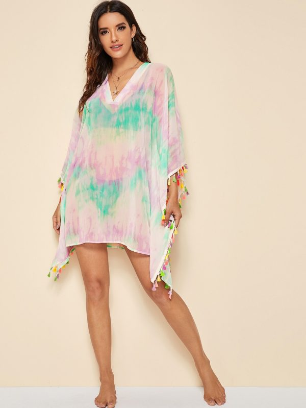 Tie Dye Colorful Tassel Trim Cover Up