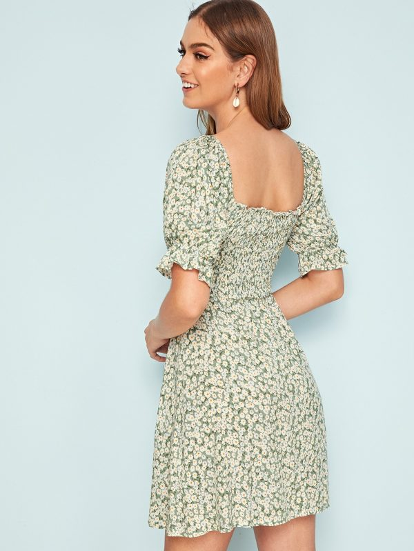 Daisy Floral Tie Front Puff Sleeve Shirred Dress