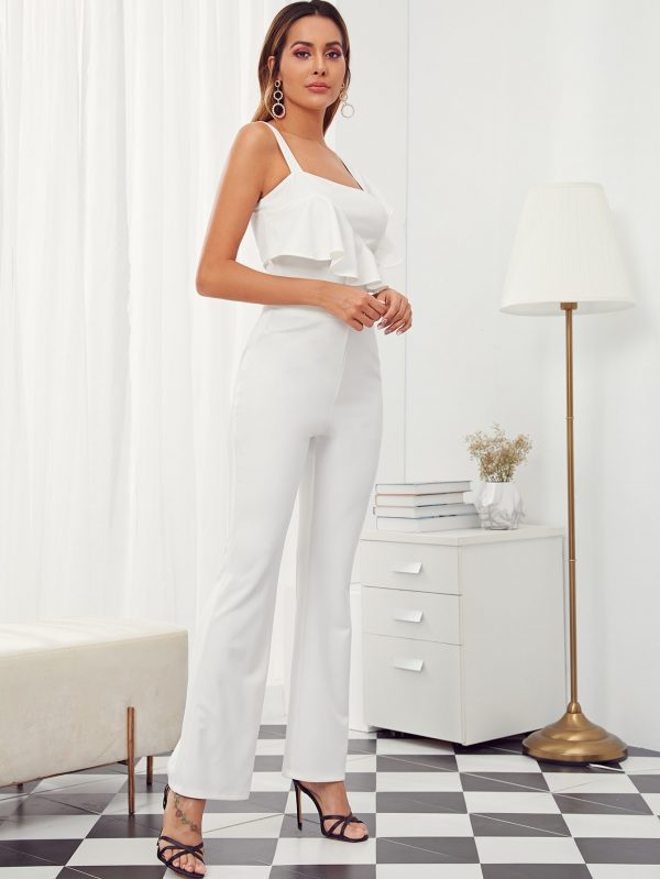 Solid Ruffle Trim Top and High Waist Pants Set