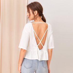 Solid Criss-cross Backless Tee