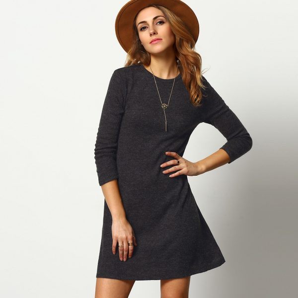 Marled Knit Swing Dress